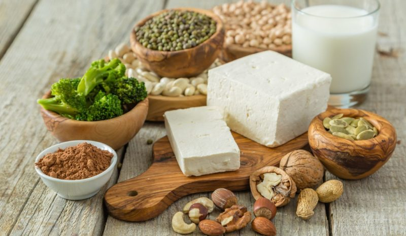 Selection of vegan protein sources on wood background. Fotolia stock photo, #122506239, Size XXL.